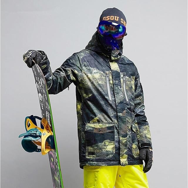 GSOU SNOW Men's Ski Jacket Snow Jacket Waterproof Ski Skiing Winter Sports Winter Top for Ski / Snowboard Winter Sports / Camo / Camouflage