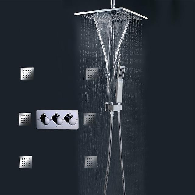 Σετ ντους Σειρά - Ντουζιέρα Βροχή Σύγχρονο Χρώμιο Επιτοίχιες Κεραμική Βαλβίδα Bath Shower Mixer Taps / Ορείχαλκος