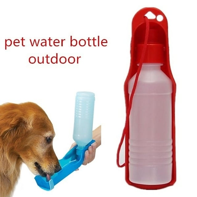 Dog Cat Bowls & Water Bottles 0.03-0.05 L Plastic Portable Outdoor Color Block Yellow Red Blue Bowls & Feeding