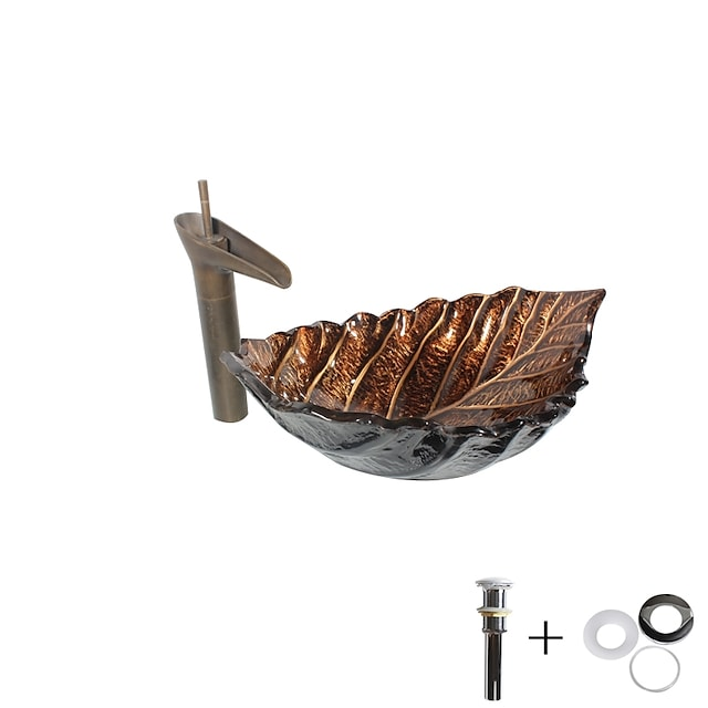 baderomsvask / baderomskran / baderomsmontering ring forfengelighet servant / antikk - herdet glass rektangulær karvask