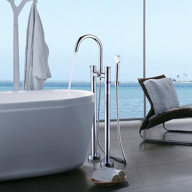 Bathtub Faucet - Contemporary Chrome Free Standing Ceramic Valve Bath Shower Mixer Taps / Single Handle Two Holes