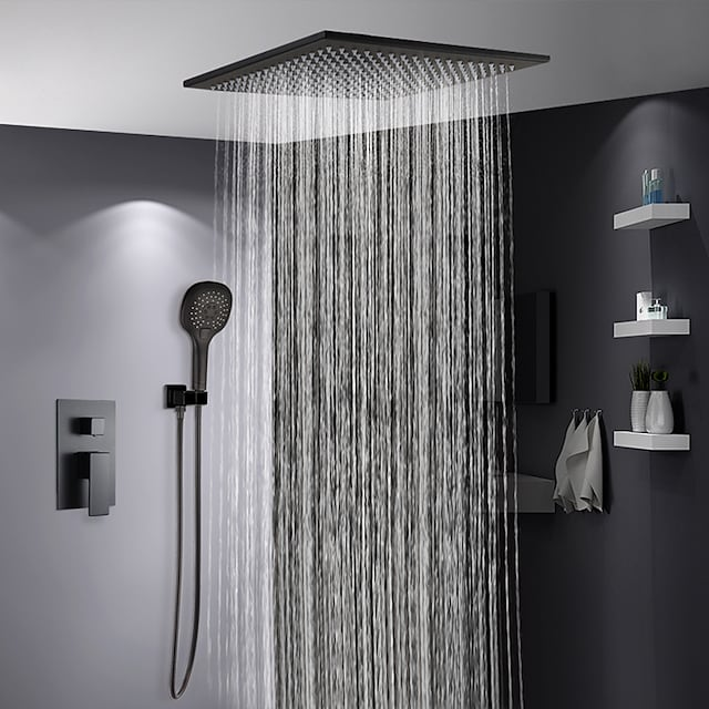 Shower Faucet Set Painted Finishes Contemporary Rain Shower Faucets Wall Mounted with Ceramic Valve Bath Shower Mixer Taps(Contain Faucet Rough-in Valve Body and Trim)