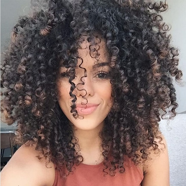 Synthetic Wig Curly Side Part Wig Medium Length Black / Brown Synthetic Hair 16 inch Women's Natural Hairline Black Brown MAYSU