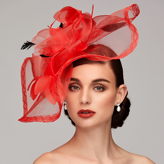 Feather / Net Kentucky Derby Hat / Fascinators / Headpiece with Feather / Floral / Flower 1pc Wedding / Special Occasion / Tea Party Headpiece