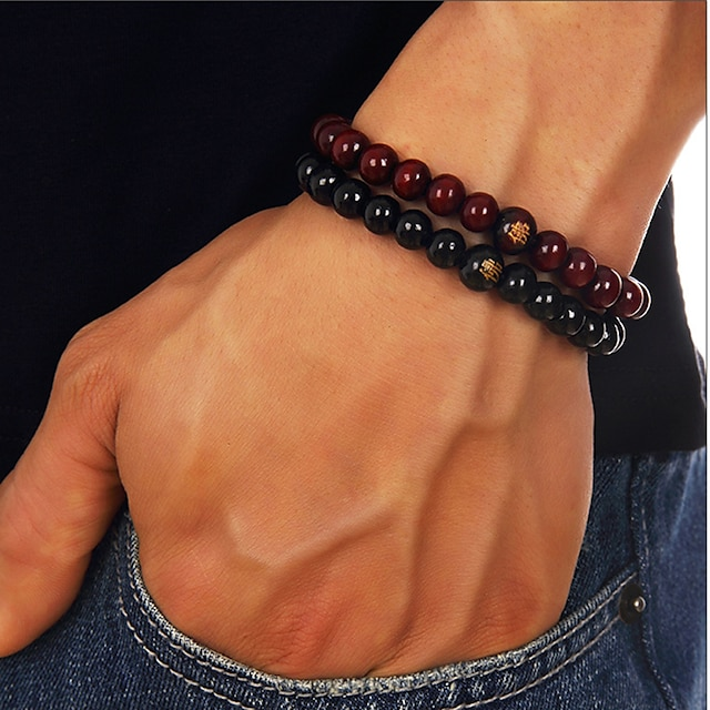 Men's Bead Bracelet Beads Buddha Chakra Simple Casual / Sporty equilibrio Wooden Bracelet Jewelry Black / Red / Brown 2 For Street Daily Going out