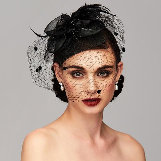 Elegante & Luxuoso Pena / Malha Chapéu Kentucky Derby / Fascinadores / Peça para Cabeça com Penas / Floral / Flor 1pç Casamento / Ocasião Especial / Festa de Chá Capacete