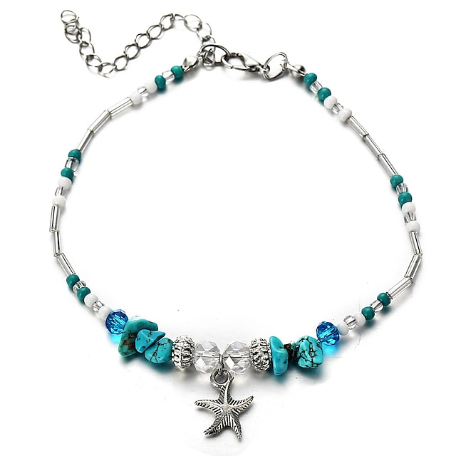 Women's Turquoise Bead Bracelet Pendant Bracelet Vintage Style Beads Starfish Ladies Classic Tropical Resin Bracelet Jewelry Blue For Carnival Bikini