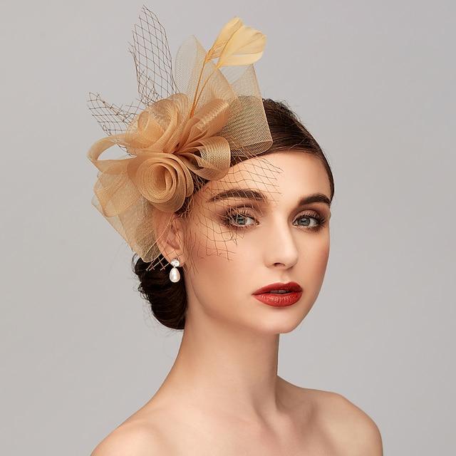 Pena / Rede Chapéu Kentucky Derby / Fascinadores / Peça para Cabeça com Penas / Floral / Flor 1pç Casamento / Ocasião Especial / Festa de Chá Capacete