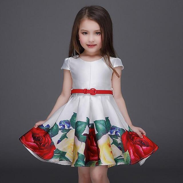 Kids Toddler Little Girls' Dress Floral Party Going out Print White Above Knee Short Sleeve Active Sweet Dresses Spring Summer Regular Fit Slim