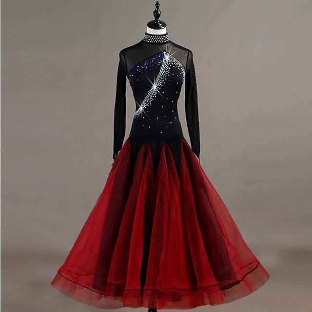 Dança de Salão Vestido Cristal / Strass Mulheres Treino Manga Longa Alto Fibra Sintética Organza Tule