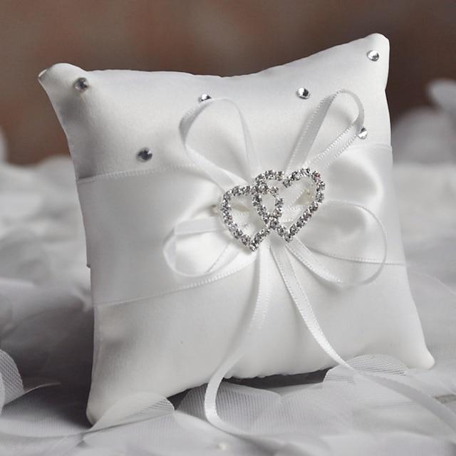 Plain Sateen Rhinestone / Ribbons Satin Ring Pillow Pillow All Seasons
