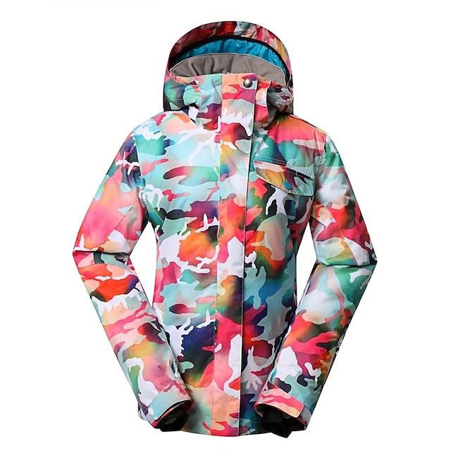 GSOU SNOW Women's Ski Jacket Snow Jacket Waterproof Ski Skiing Winter Sports Winter Top for Winter Sports / Camo / Camouflage