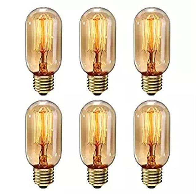 6ks stmívatelné t45 40w e27 teplá bílá barva dekorativní retro žhavá vinobraní edison žárovky ac220-240v