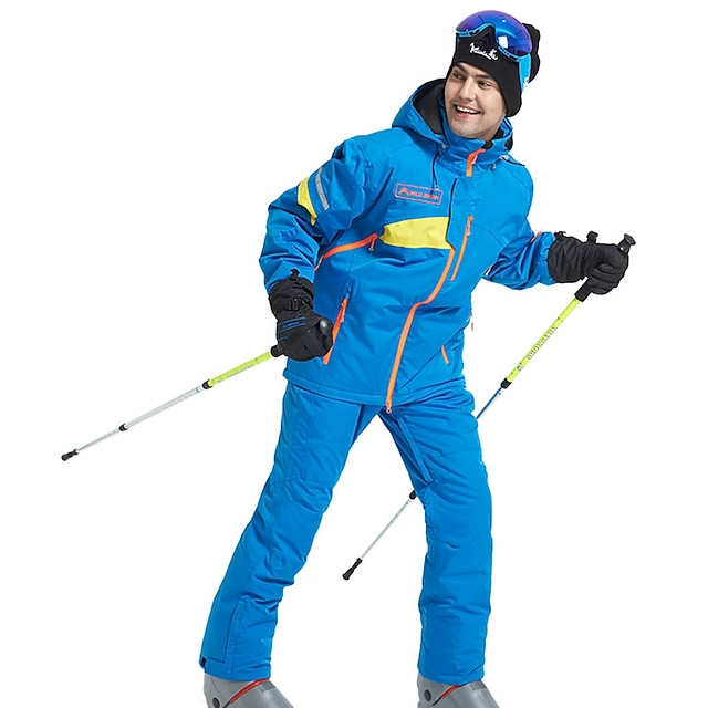 Wild Snow Men's Ski Jacket with Bib Pants Waterproof Windproof Warm Breathable Winter Clothing Suit for Ski / Snowboard Winter Sports / Solid Colored