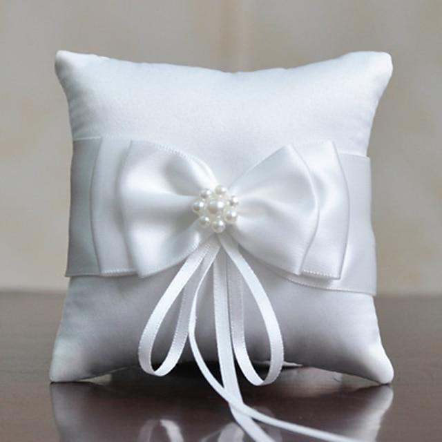 Fabric Satin Bow Cotton / Linen Ring Pillow Pillow All Seasons