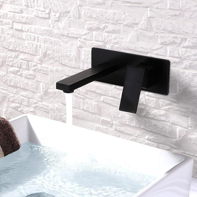 Håndvasken vandhane - FaucetSet / Vægmontering Malede finish Vægmonteret Enkelt håndtere to HullerBath Taps