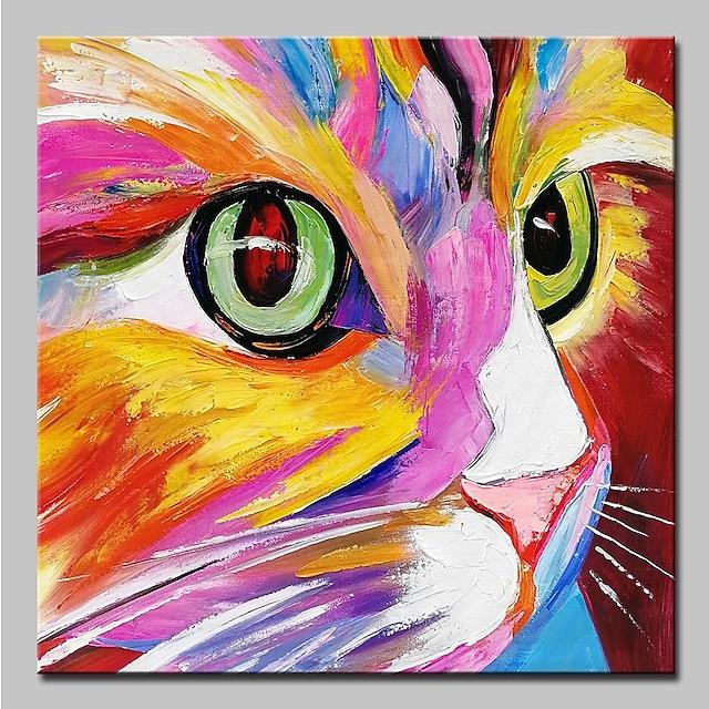 ציור שמן בעבודת יד ציור קיר אמנות מופשטת חתול צבעוני בעלי חיים קישוט לבית עיצוב מסגרת מתוח מוכן לתליה