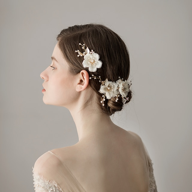 Chiffon Hair Clip with Floral One Pair × 2 Wedding / Party / Evening Headpiece