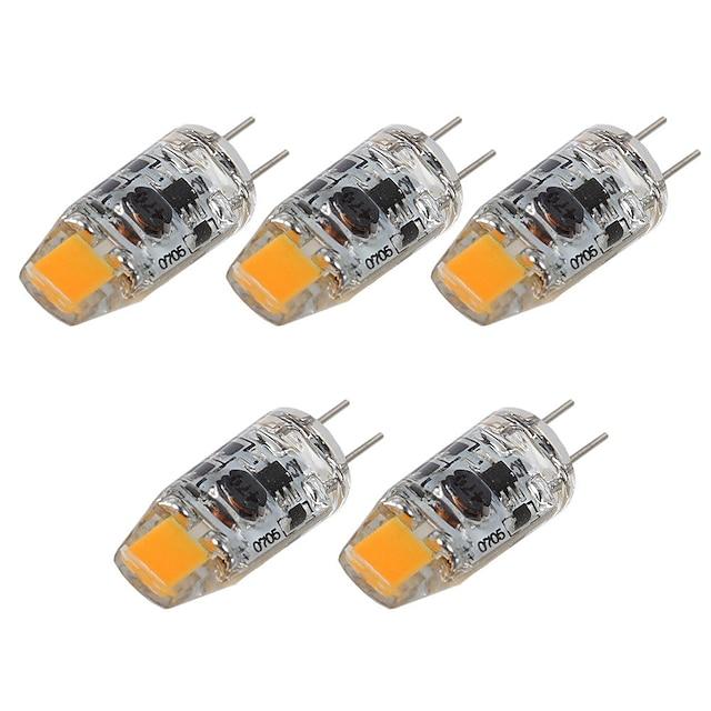 5 قطع 2 W أضواء LED Bi Pin 180 lm G4 T 1 الخرز LED COB ديكور أبيض دافئ أبيض 12 V