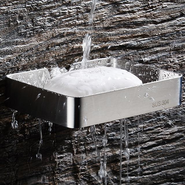 porte-savon avec supports rectangle creux contemporain en acier inoxydable mural ruban 1pc