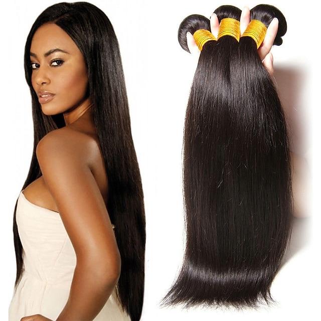 3 Bündel Haare webt brasilianisches Haar gerade Echthaarverlängerungen Remy Echthaar Echthaarverlängerungen 8-28 Zoll natürliches Leben
