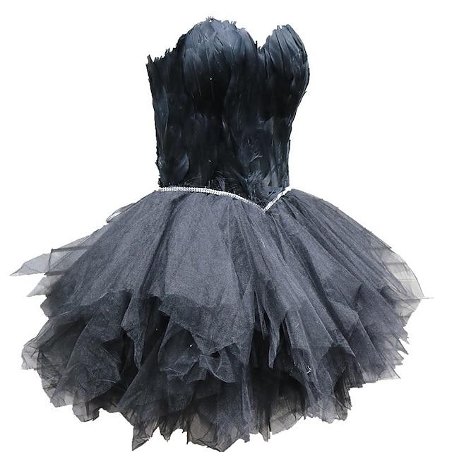 Lebada neagra Rochie Neagră Mică Elegant rochie de vacanță Rochii Mascaradă Rochie de bal Pentru femei Tul Costum Alb / Negru / Roșu-aprins Epocă Cosplay Venire Acasă Fără manșon