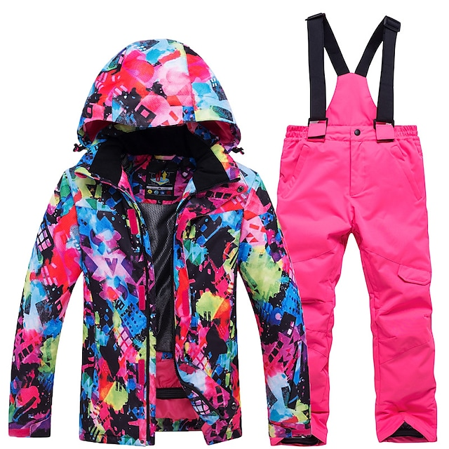 fashion Boys' Girls' high waterproof windproof snowboard colorful printed ski jacket and pants
