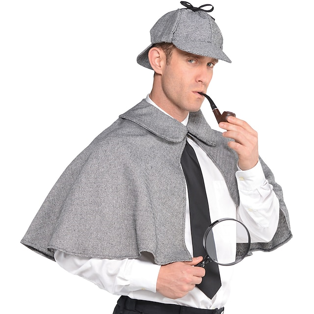 Sherlock Holmes Capa Cosplay de Filmes Cinzento Capa Chapéu Natal Dia Das Bruxas Ano Novo Poliéster