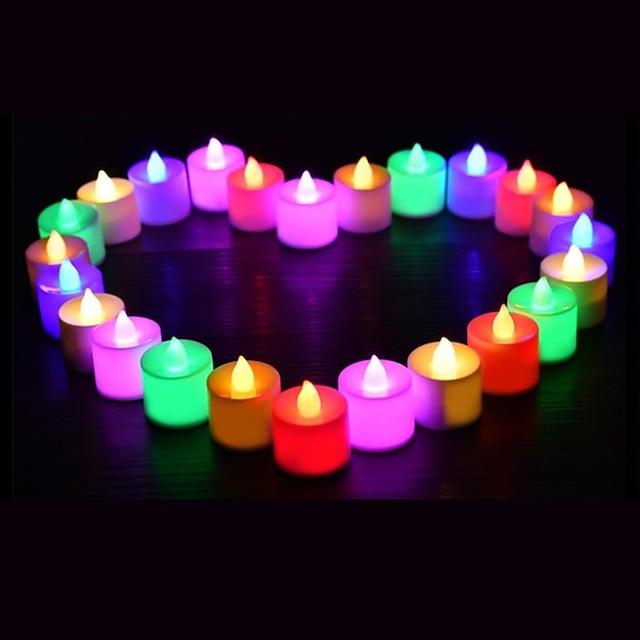 24pcs Ampoules LED bougie thé lumière batterie alimenté lampe simulation couleur flamme clignotant maison mariage fête d'anniversaire décoration bougies