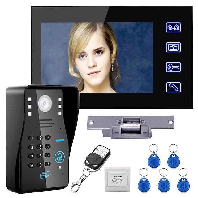 kablet 7-tommers handsfree en til en video porttelefon dørklokke 960 * 480 intercom system kit elektrisk strekslås trådløs fjernkontroll låse opp fjernkontroll for tilgangskontroll system