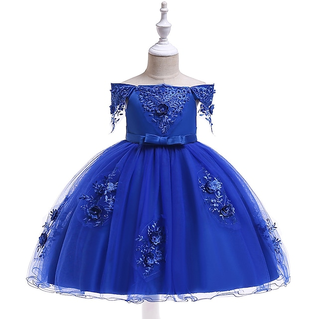 Kids Little Girls' Dress Solid Colored Party Holiday Red Blushing Pink Royal Blue Knee-length Short Sleeve Active Sweet Dresses Spring Summer Slim