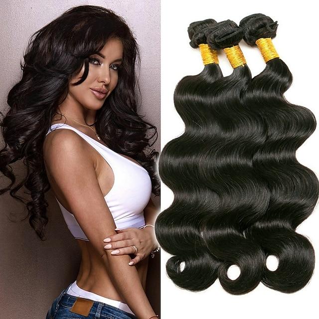 3 paketa Kosa tkanja Brazilska kosa Tijelo Wave Proširenja ljudske kose Virgin kosa Headpiece Ljudske kose plete Styling kose 8-28 inch Prirodna boja Nježno Najbolja kvaliteta Rasprodaja