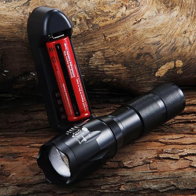 UltraFire LED Flashlights Lampes Torches LED 1600 lm LED LED 7 Émetteurs 5 Mode d'Eclairage avec Pile et Chargeur Fonction Zoom Faisceau Ajustable Camping / Randonnée / Spéléologie Usage quotidien