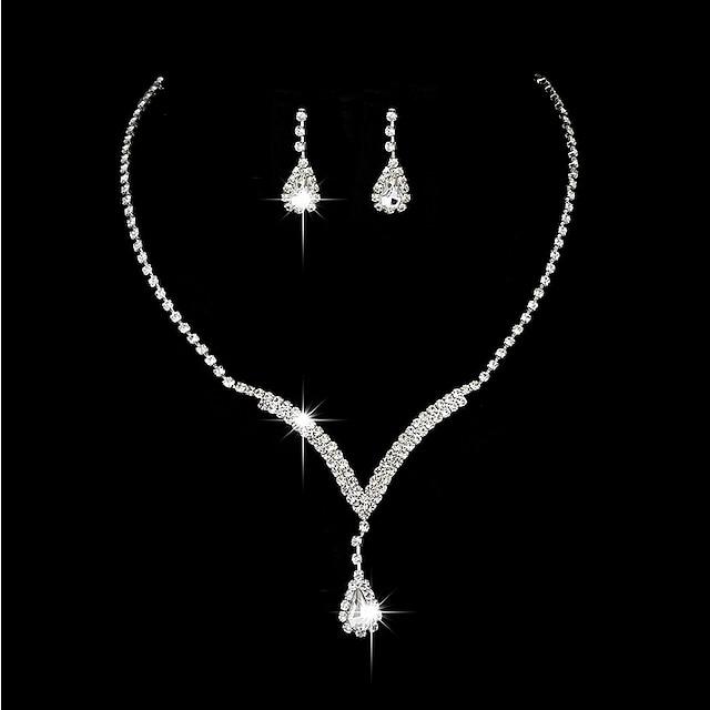 Pentru femei Zirconiu Cubic Cercei Picătură Coliere Choker Vintage Colier Lung Picătură Floare Clasic Elegant Vintage Plastic cercei Bijuterii Argintiu Pentru Nuntă Ceremonie Logodnă