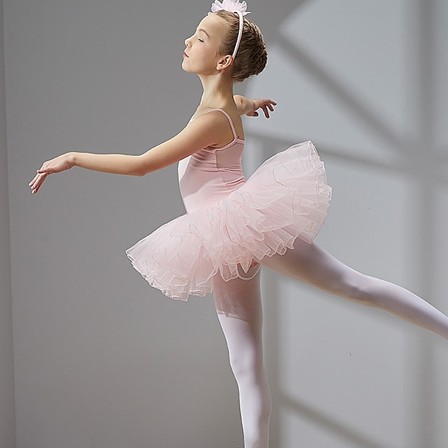 Princess Ballet Dancer Swan Lake Layered Dress Tutu Bubble Skirt Under Skirt Girls' Kid's Tulle Spandex Cotton Costume Coral Red / Black / Dusty Rose Vintage Cosplay Christmas Party Halloween