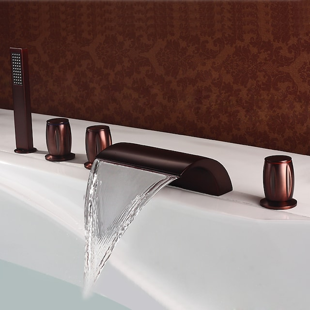 Смеситель для ванны - Античный Начищенная бронза Римская ванна Медный клапан Bath Shower Mixer Taps