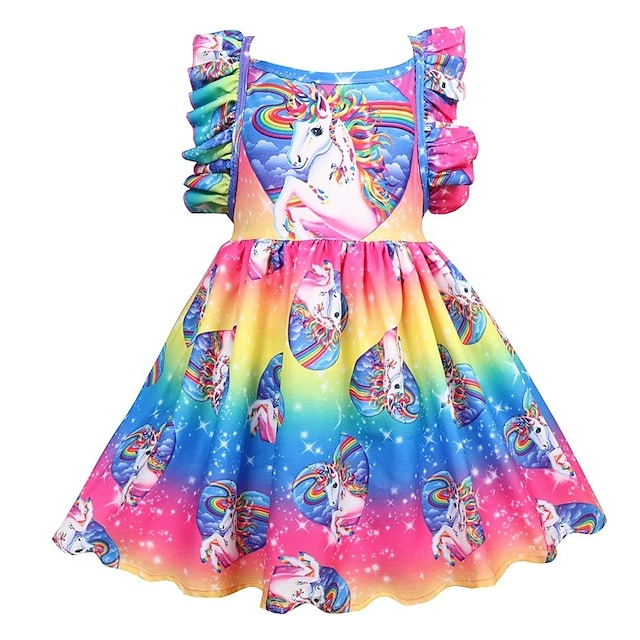 Kids Little Girls' Dress Rainbow Floral Patchwork Party Casual Holiday Pleated Print Rainbow Knee-length Sleeveless Active Sweet Dresses Children's Day Summer Regular Fit 2-12 Years