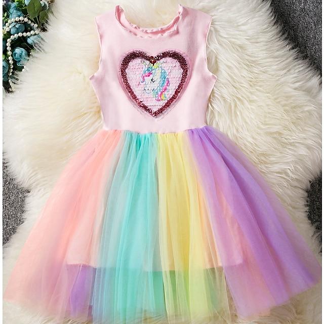 아동 작은 여아 드레스 일각수 무지개 패치 워크 튤 드레스 투투 드레스 스팽글 블러슁 핑크 튤 민소매 베이직 귀여운 스타일 드레스 3 ~ 12 세