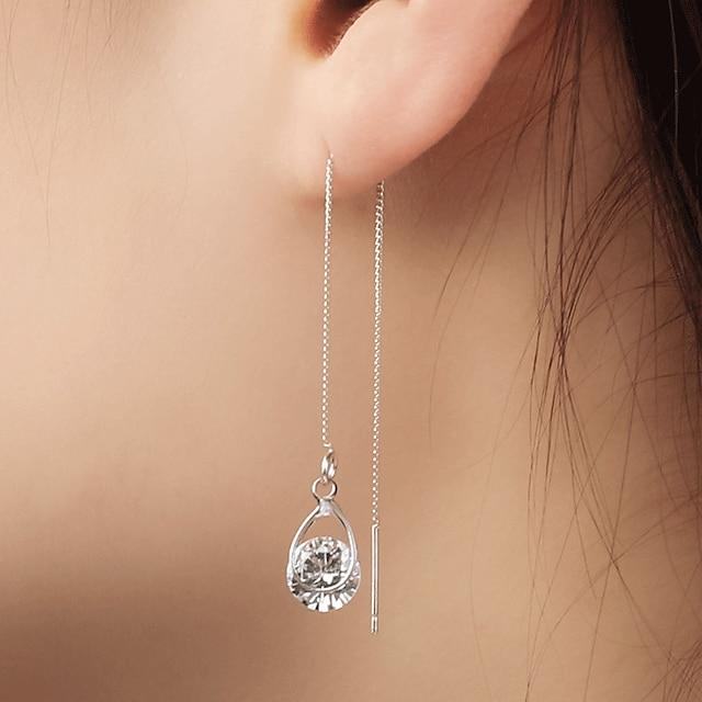 여성용 모조 큐빅 드랍 귀걸이 매달려 귀걸이 매달린 귀걸이 혼자 하는 여러 가지 놀이 단순한 댕글링 스타일 패션 모조 다이아몬드 귀걸이 보석류 골드 / 실버 제품 파티 이브닝 파티 1 쌍
