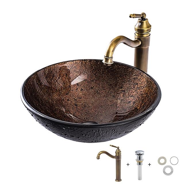 Pia de Banheiro / Torneira de Banheiro / Anél de Instalação de Banheiro Clássica - Vidro Temperado Redondo Vessel Sink
