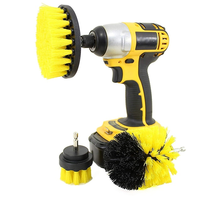 3-in-1 Electric Drill Brush Head Bathroom Surfaces Tub Shower Tile and Grout All Purpose Cleaning Kit