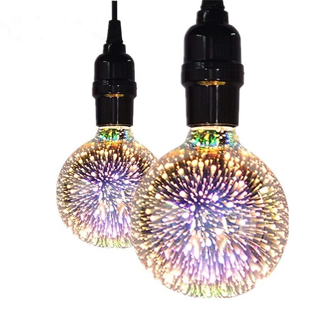 2pcs 5 w ampoules à filament led 450 lm e26 / e27 g95 35 perles led cob décoratif décoration de mariage de noël 3d starburst blanc chaud 85-265 v / rohs / certifié ce