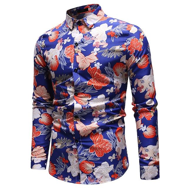 남성용 셔츠 컬러 블럭 페이즐리 기하학 프린트 탑스 면 블랙 푸른