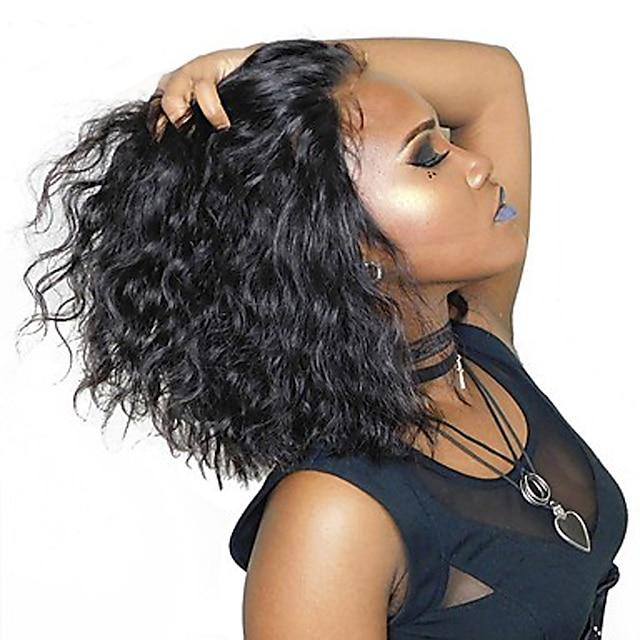 Φυσικά μαλλιά 4x4 Κλείσιμο Δαντέλα Μπροστά Περούκα Κούρεμα καρέ Σύντομο βαρίδι Ριάννα στυλ Βραζιλιάνικη Σγουρά Φυσικό Περούκα 130% Πυκνότητα μαλλιών / Μακρύ / με τα μαλλιά μωρών / Κοντό