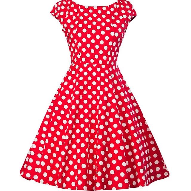 Naisten A linjainen mekko Musta Rubiini Keltainen Hihaton Pallokuosi Painettu V kaula-aukko 1950-luku S M L XL XXL 4XL 5XL / Pluskoko