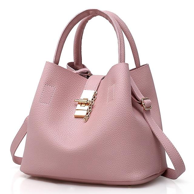 Γυναικεία Τσάντες Λουστρίνι Τιράντα τσάντες κουβά Σετ τσάντα Φερμουάρ Συμπαγές Χρώμα Καθημερινά Αργίες Τσάντες Χειρός Μαύρο Ρουμπίνι Ανθισμένο Ροζ