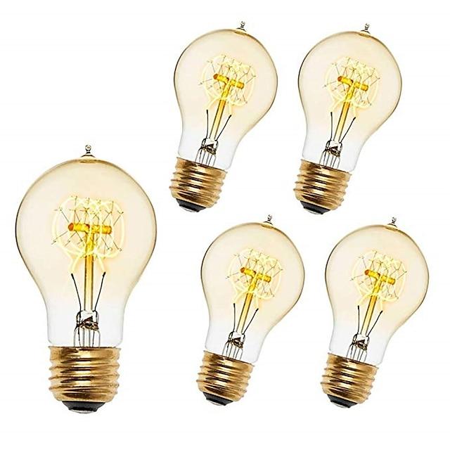 5 шт. 40 W E26 / E27 A60(A19) Тёплый белый 2200-2300 k Ретро / Диммируемая / Декоративная Винтажная лампа накаливания Эдисона 220-240 V