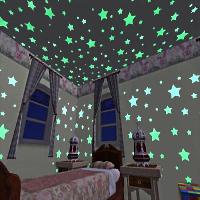 autocolante decorative de perete - autocolante de perete 3d / autocolante de perete luminoase peisaj sufragerie / dormitor / bucătărie / reglabil 3 * 3cm * 100buc