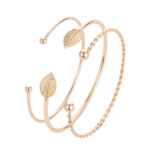 Mulheres Pulseiras Algema Clássico Estiloso Coreano Liga Pulseira de jóias Dourado Para Diário