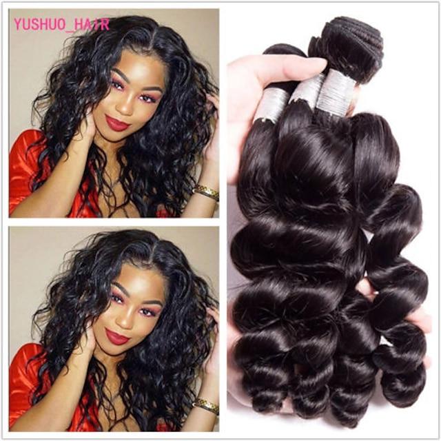 4 pakettia Hiuskudokset Brasilialainen Löysät aaltoilevat Ihmisen hiustenpidennykset Remy-hius Käsittelemätön aitoa hiusta Hiukset kutoo Nippu hiukset Yksi pakkaus ratkaisu 8-28 inch Luonnollinen väri